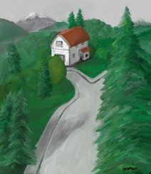 House, Trees, Mountains, Microsoft Fresh Paint