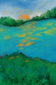 River, Landscape, Sun