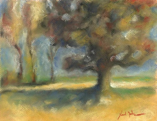 oak-and-poplars-pastel-on-paper
