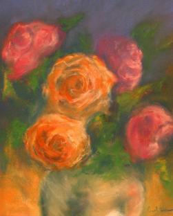 roses-front-and-behind-pastel-on-paper